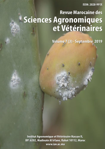 Revue Marocaine des Sciences Agronomiques et Vétérinaires 7(3) – Septembre 2019
